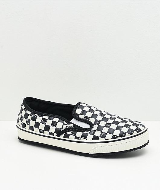 Vans Slip-Er pantuflas de cuadros blancos y negros