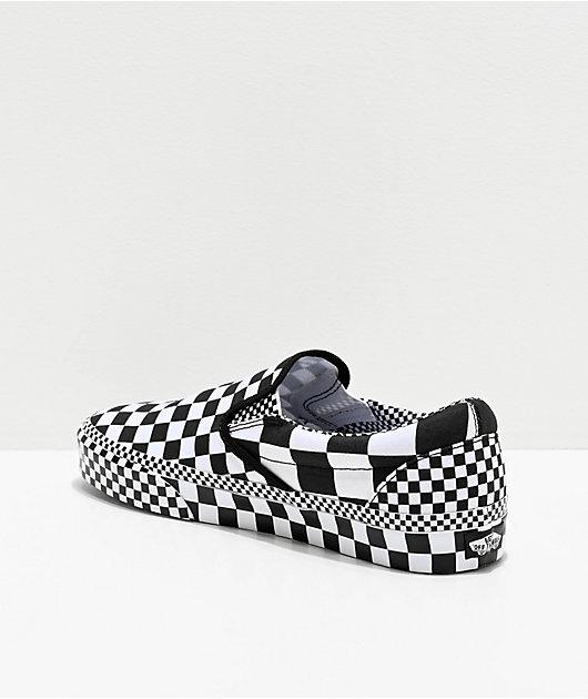 Vans Slip-On All Over Checkerboard Black & White Skate Shoes