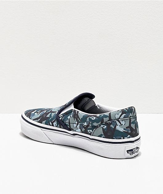 Vans Slip-On Animal Camo Blue & White Skate Shoes