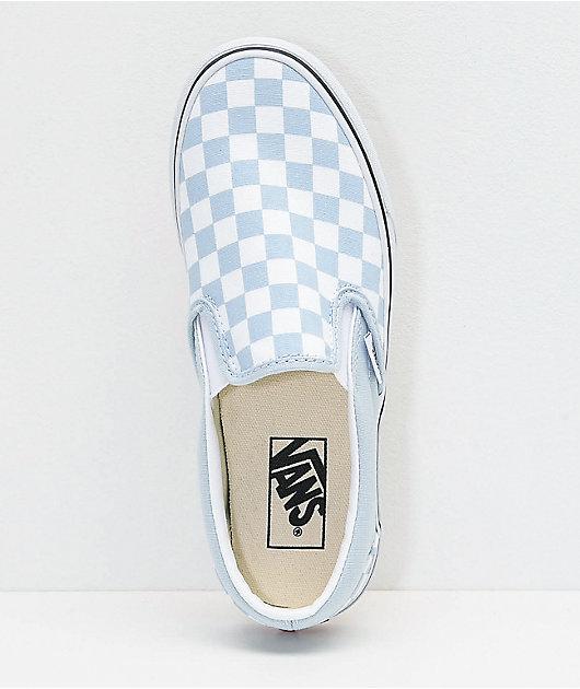 Vans Slip-On Baby Blue Checkerboard Skate Shoes