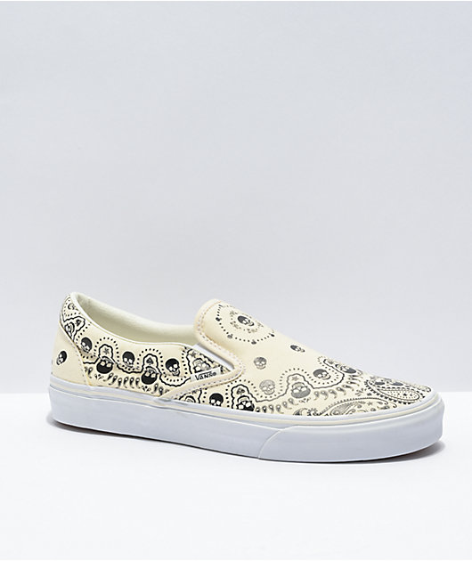 Vans Slip-On Bandana White & Black Skate Shoes