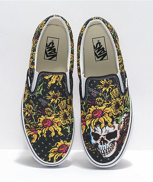 Vans Slip-On Beauty Skull zapatos de skate blancos y negros