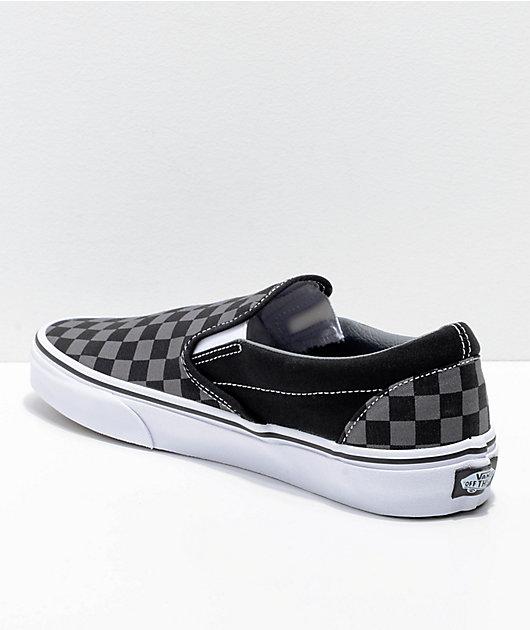 black slip on checkered vans
