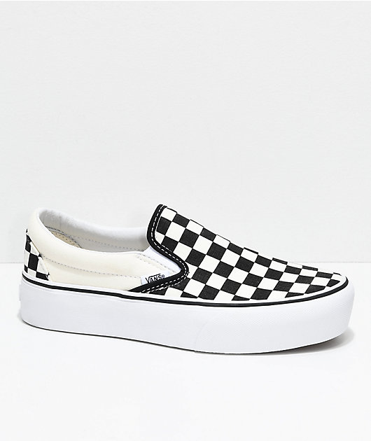 Viento Interconectar Facilitar  Vans Slip-On Black & White Checkered Platform Shoes | Zumiez