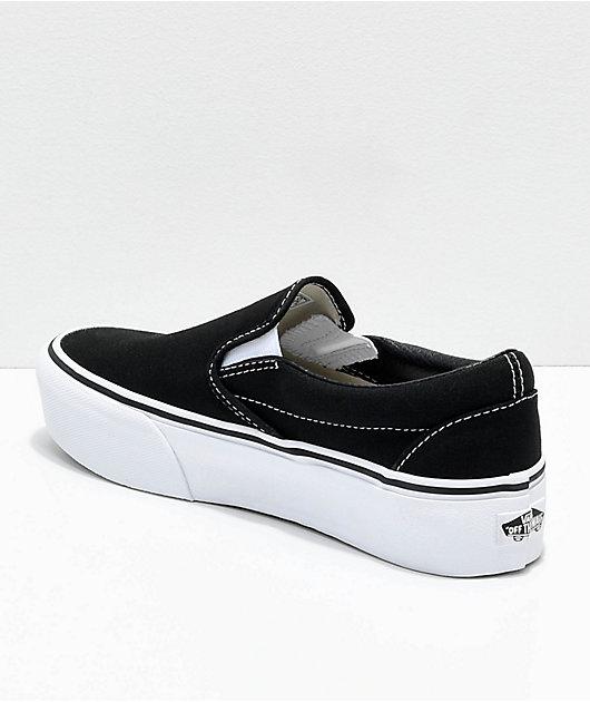 Vans Slip-On Black & White Platform Shoes