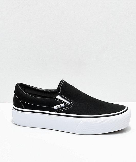 Me gusta preámbulo Órgano digestivo  Vans Slip-On Black & White Platform Shoes | Zumiez