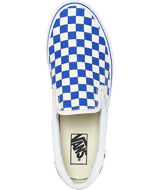 Vans Slip-On Blue & White Checkered Skate Shoes