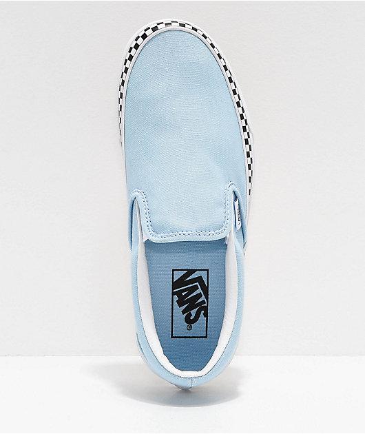 Vans Slip-On Check Foxing zapatos de skate en azul y blanco