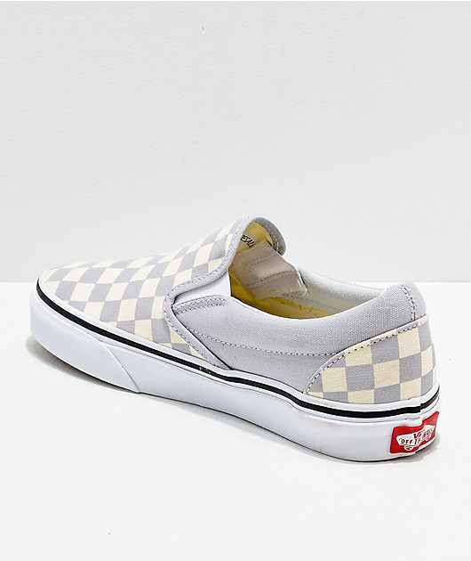 Vans Slip On Checkerboard Grey, Dawn & White Shoes