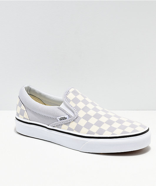 Vans Slip On Checkerboard Grey, Dawn & White Shoes