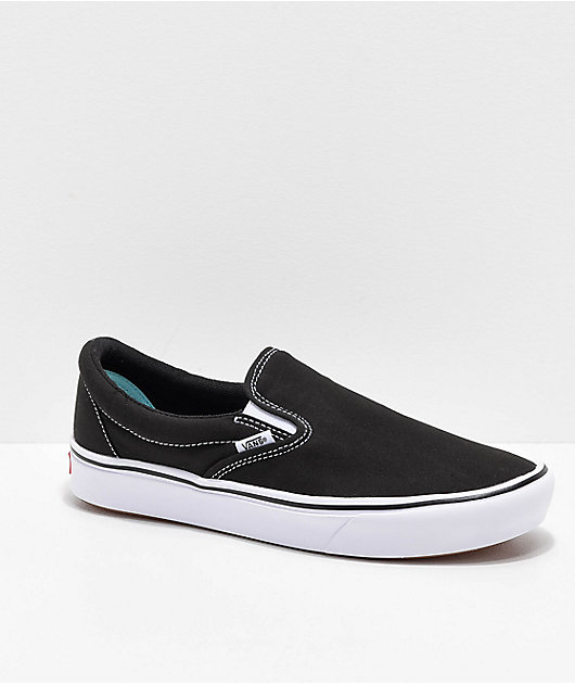 Vans Slip-On Comfy Cush Black & White Skate Shoes