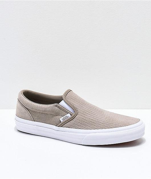 Vans Slip-On Desert Taupe & White Embossed Suede Skate Shoes