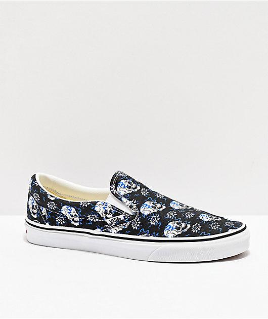 Vans Slip-On Flash Skulls Black & Multi Skate Shoes