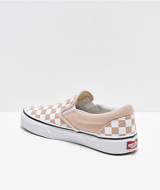 Vans Slip-On Frappe Brown & White Checkered Canvas Skate Shoes