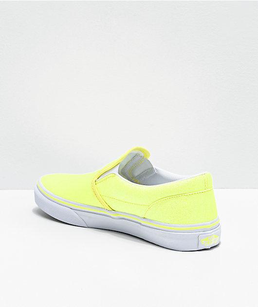 Vans Slip-On Glitter Neon Yellow Skate Shoes