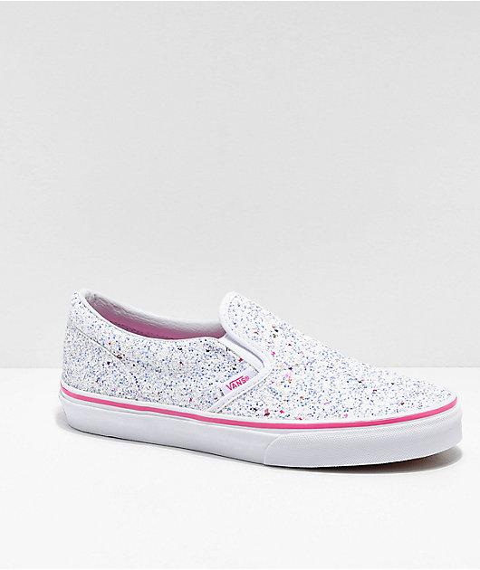 Vans Slip-On Glitter Stars White Skate