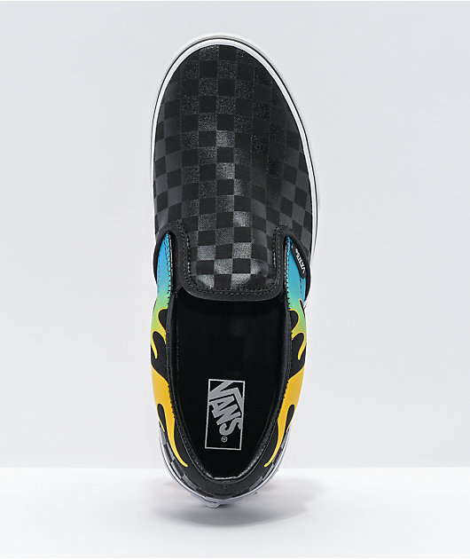 Vans Slip On Glow Flame Black Checkerboard Skate Shoes