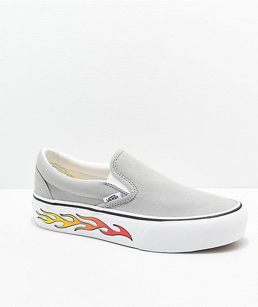 Vans Slip-On Grey, White \u0026 Flame