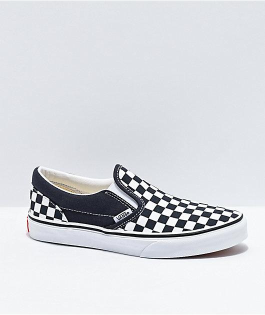 Vans Slip-On India Ink Black & White Checkerboard Skate Shoes