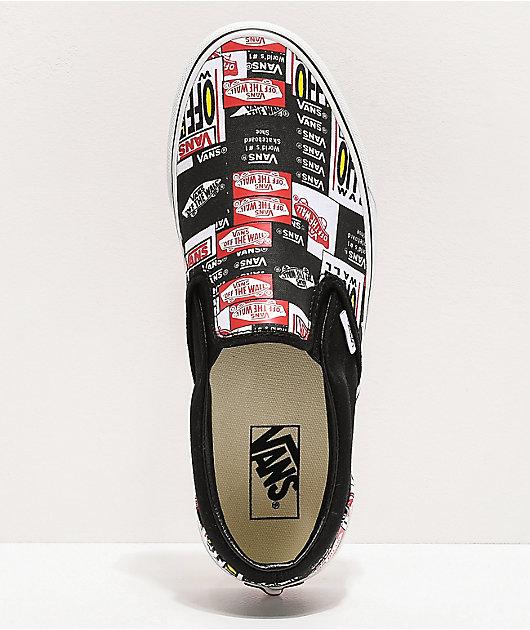 Vans Slip-On Label Mix Black & White Skate Shoes