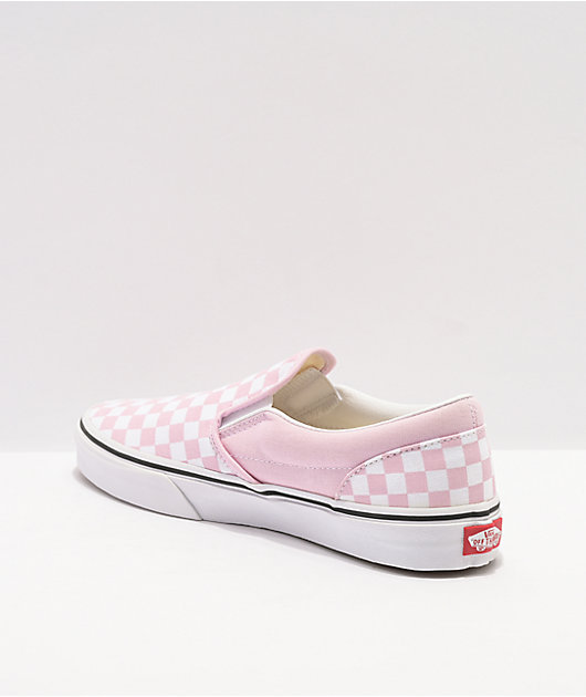 Vans Slip-On Lilac & Snow White Checkerboard Skate Shoes