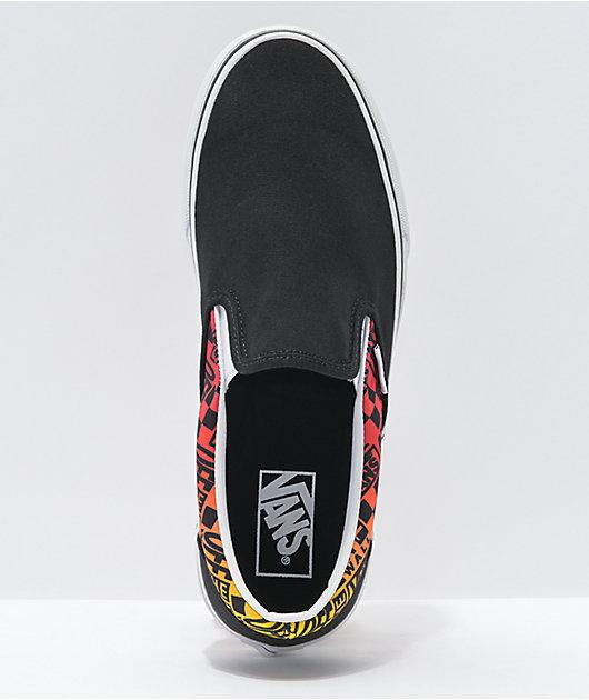 Vans Slip-On Logo Flame Black & White Skate Shoes