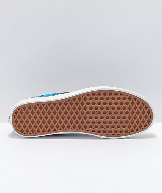 Vans Slip-On Logo Flame Navy & White Skate Shoes