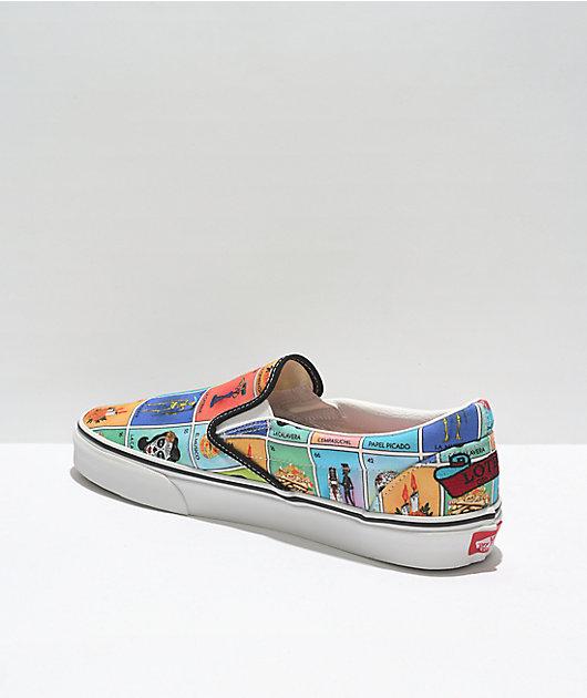 Vans Slip-On Loteria Multi & White Skate Shoes