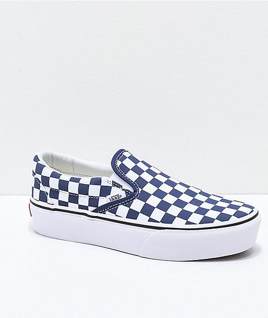Infantil Altitud Favor  Vans Slip-On Medieval Blue & White Checkerboard Canvas Platform Skate Shoes  | Zumiez