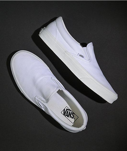 Vans Slip-On Monochromatic True White Skate Shoes