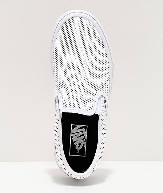 Vans Slip-On Perforated Leather White Skate Shoes