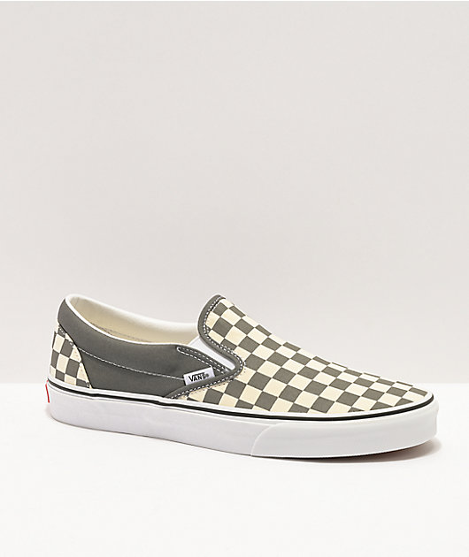 Vans Slip-On Pewter Grey & White Checkerboard Skate Shoes