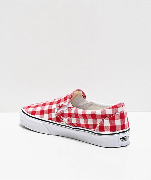 Vans Slip-On Picnic Red & White Checkerboard Skate Shoes