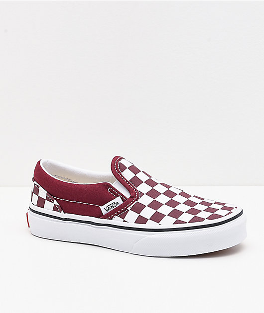 Vans Slip-On Pomegranate Checkerboard Skate Shoes