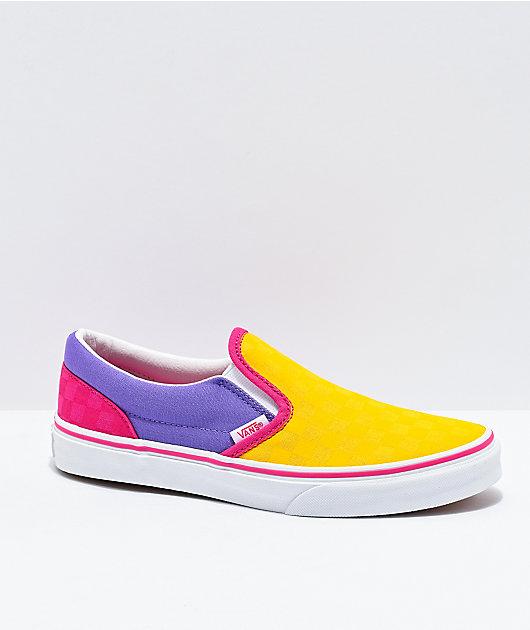 Vans Slip-On Pop Yellow, Purple & Pink Checkerboard Skate Shoes