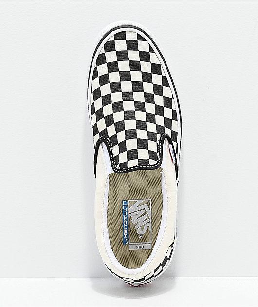 Vans Slip-On Pro Black & White Checkerboard Skate Shoes