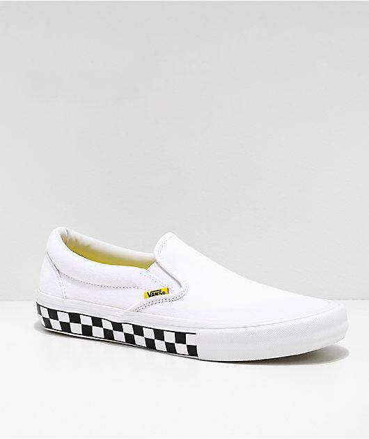 Vans Slip-On Pro Checkerboard White & Yellow Skate Shoes