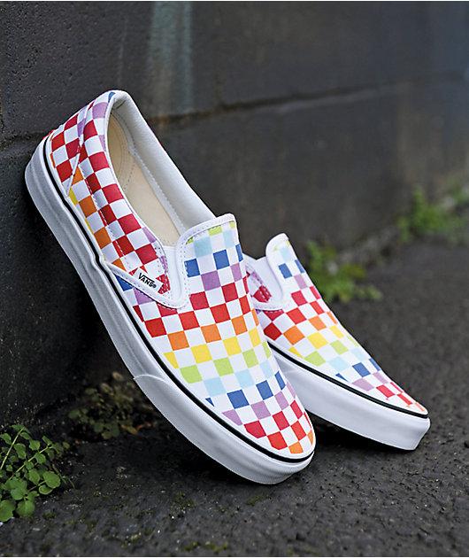 Vans Slip-On Rainbow Checkerboard Skate