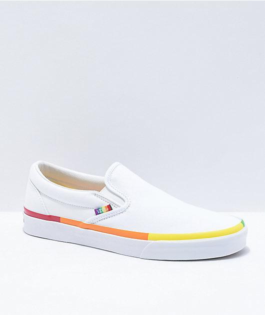 Vans Slip-On Rainbow Foxing & White Skate Shoes