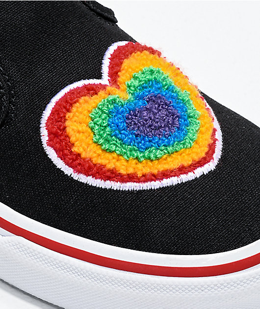 Vans Slip-On Rainbow Heart Black Skate Shoes