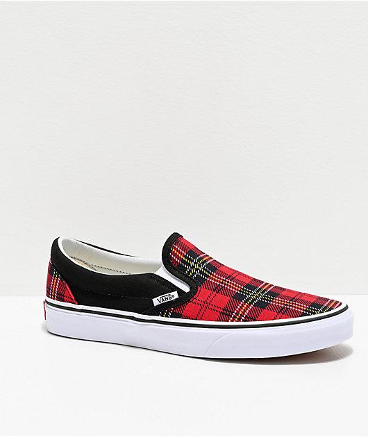 Vans Slip-On Red, Black \u0026 White Tartan