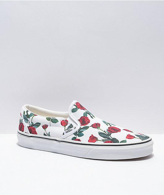 Vans Slip-On Red Roses White Skate Shoes