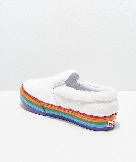 Vans Slip-On Shearling Rainbow Platform