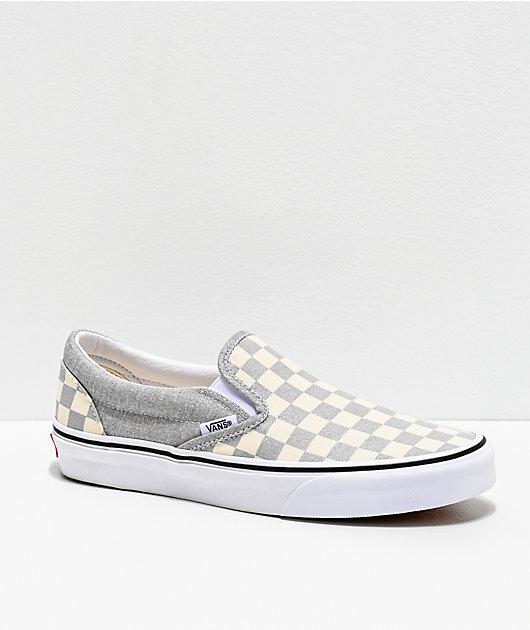 Vans Slip-On Silver & White Checkerboard Skate Shoes