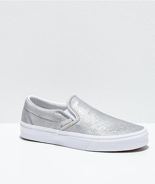 Vans Slip-On Silver Sparkle Skate Shoes
