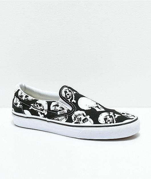Vans Slip-On Skulls Black \u0026 White Skate