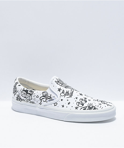 Vans Slip-On U Color Tattoo White Skate Shoes