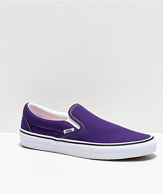 Vans Slip-On Violet Indigo & White Skate Shoes   Zumiez.ca