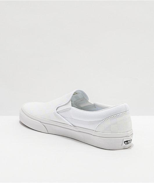 Vans Slip-On White Checkerboard Skate Shoes