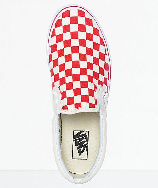 Vans Slip-On zapatos de skate a cuadros en rojo y blanco